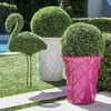 Faux Boxwood Lawn Flamingo