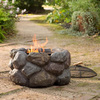 Faux Rock Fire Pit With Spark Guard