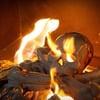 Fire Pit Skull and Crossbones Log