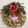 Gathered Burlap Twig Wreath