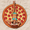 Gigantic Pepperoni Pizza Beach Blanket