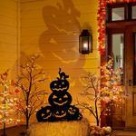Halloween Jack-O'-Lanterns Silhouette w/ Orange LED Spotlight