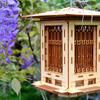 Illuminated Craftsman Style Wooden Bird Feeder