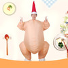 Inflatable Thanksgiving Turkey Halloween Costume with Santa Hat