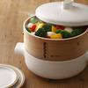 JIA Ceramic Steamer Pot / Lid With Cedar Wood and Terra Cotta Basket