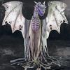 Massive 7 Foot Tall Animatronic Winter Dragon Statue