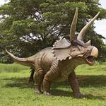 Massive Lifesize Charging Triceratops Dinosaur Statue