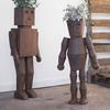 Metal Robot Planters