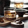Mountain Peak Whiskey Glass With Wooden Base