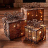 Natural Burlap and Rattan Lighted Gift Boxes
