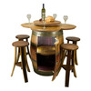 Reclaimed Wine Barrel Table With Lazy Susan, Storage, and Stave Stools