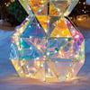 Sparkling Modern Angular Iridescent Reindeer and Snowman Statues