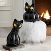 Spooky Pumpkin Cats with Flickering LED Eyes