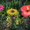 Steel Poppy, Sunflower, and Dahlia Garden Torches