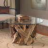 Teak Driftwood Round Glass Coffee Table