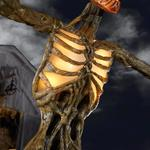 Terrifying 12 Foot Tall Giant Inferno Pumpkin Skeleton With Animated LCD LifeEyes