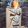 TikiTorchz - Chainsaw-Carved Flaming Tiki Head Log Torches