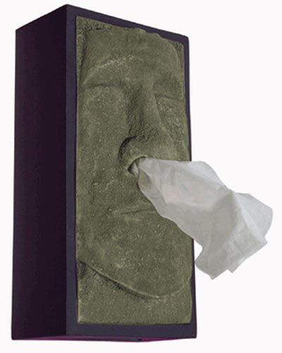 Tiki head tissue box cover the green head - Nose tissue dispenser ...