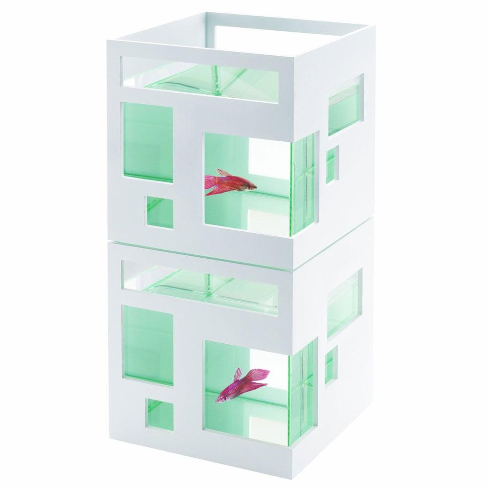Umbra fishhotel modern stackable aquarium the green head for Petit aquarium design