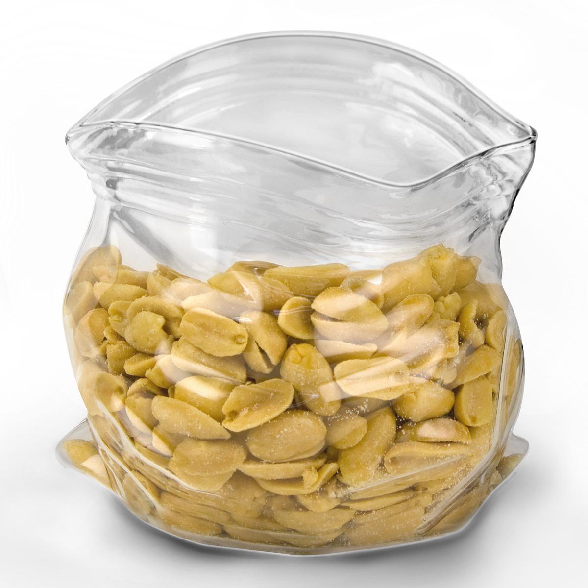 Unzipped Glass Zipper Bag Candy And Nut Bowl