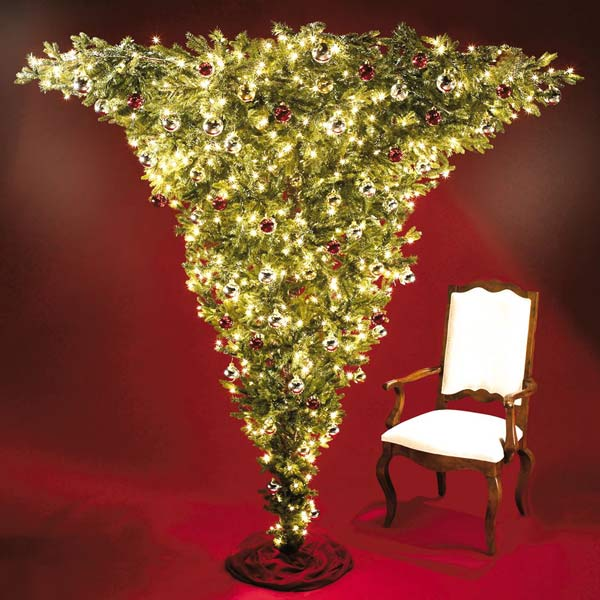 the 7 foot upside down pre lit christmas tree - Pre Lighted Christmas Trees