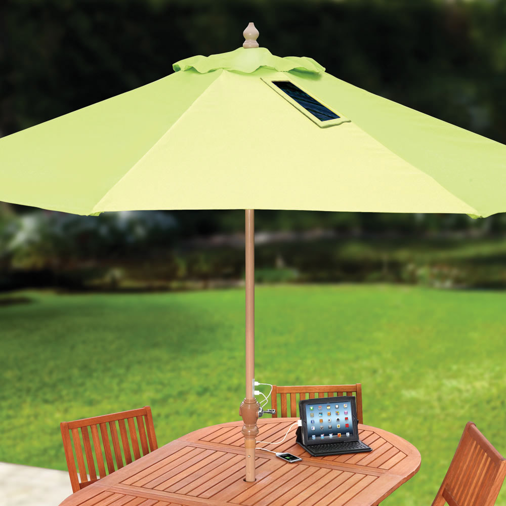 new patio umbrella with solar powered led lights by corliving pictures. Black Bedroom Furniture Sets. Home Design Ideas