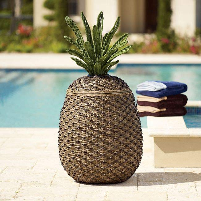 Wicker Pineapple Storage Basket Hamper
