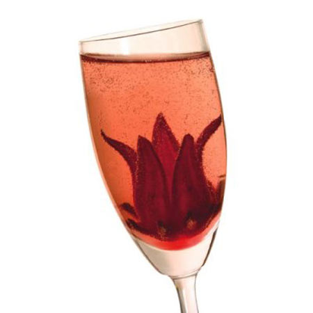 Wild hibiscus flowers in syrup bloom in champagne for Cocktail hibiscus
