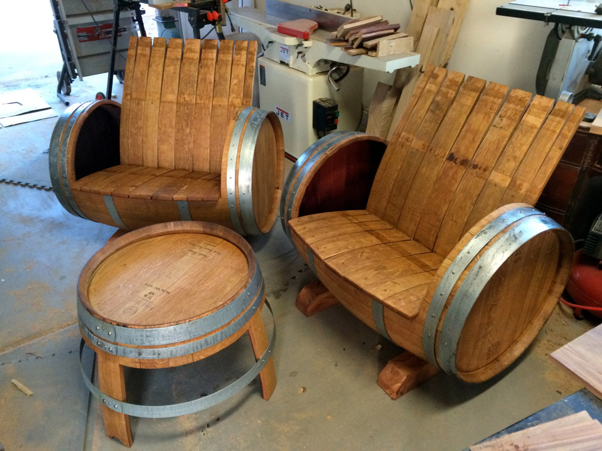 Wood barrel furniture Diy The Green Head Wine Barrel Chairs And Table