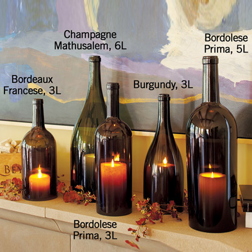 Wine bottle hurricane candle holders the green head for Champagne bottle candle holders