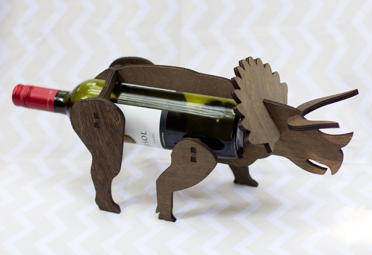 Wine-O-Saurs - Wooden Dinosaur Wine Racks - The Green Head