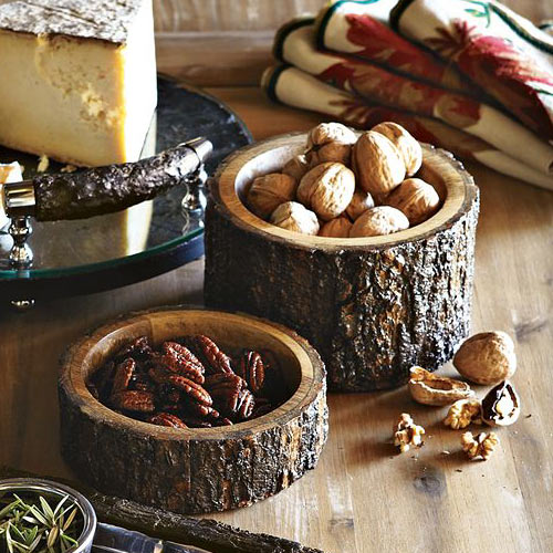 Wood Bark Nut Bowls