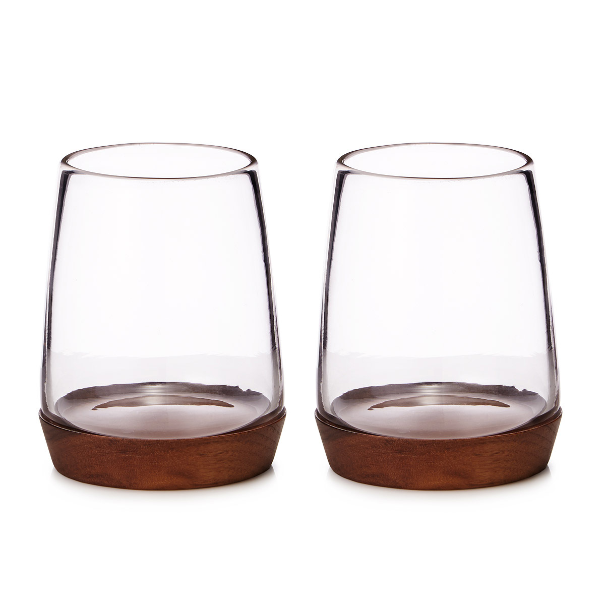 Wooden base stemless wine glasses the green head - Stemless wine goblets ...