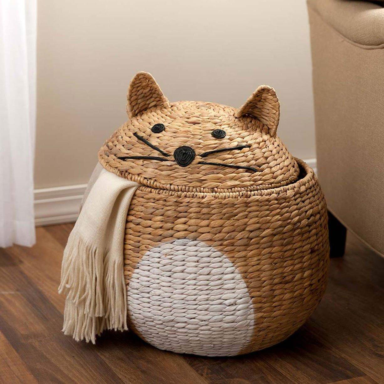 Woven Cat Shaped Storage Basket
