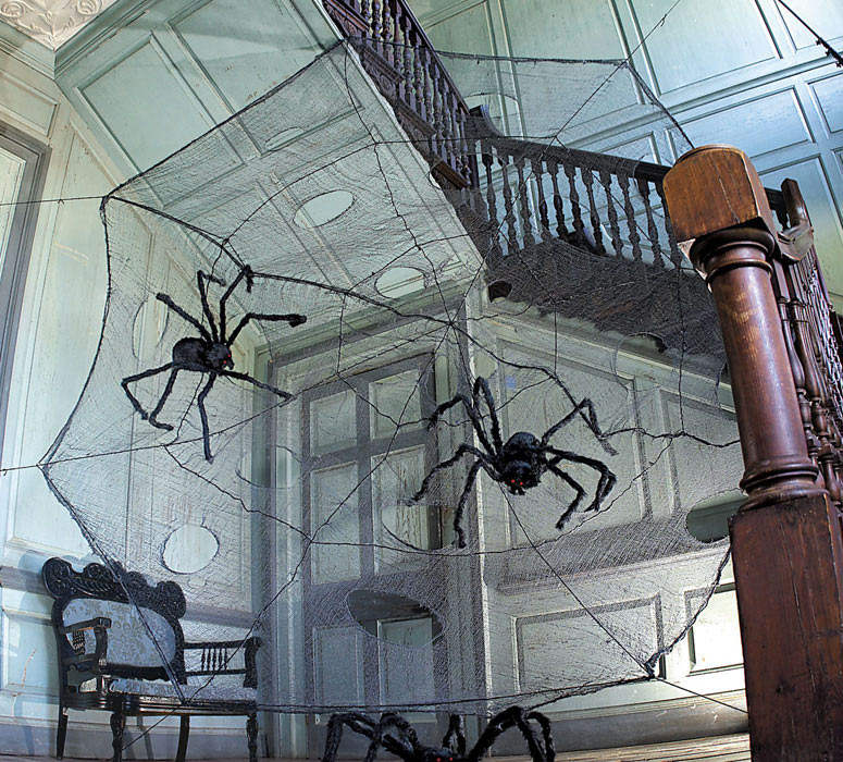 12 foot black spider web with giant spiders - Spider Web Decorations For Halloween
