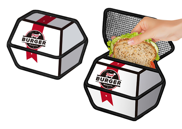 2D Cartoon Burger Box Insulated Sandwich Bag