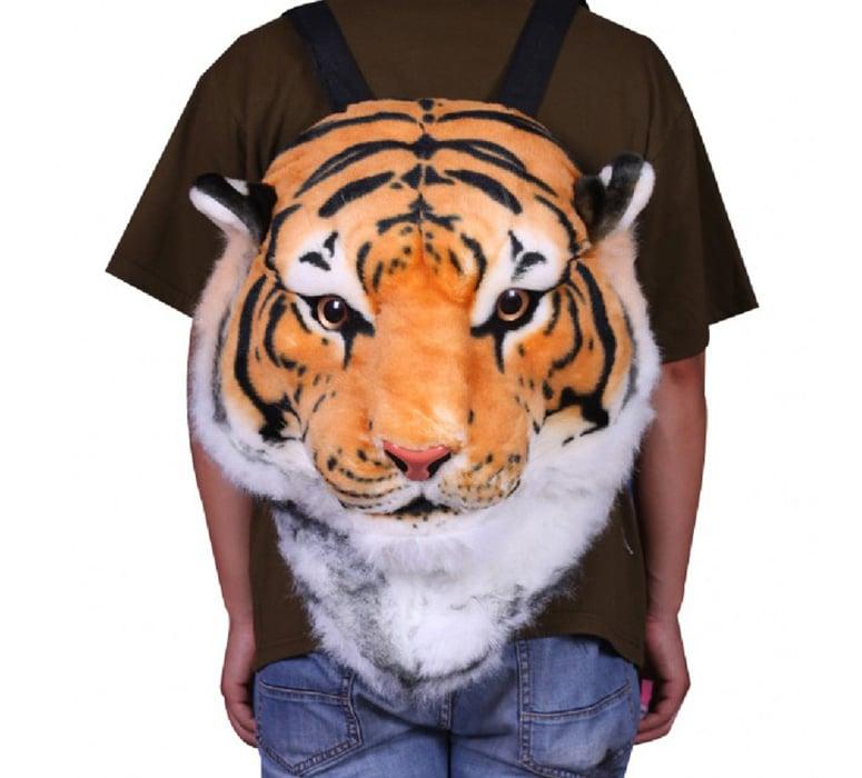 3D Tiger Head Plush Backpack