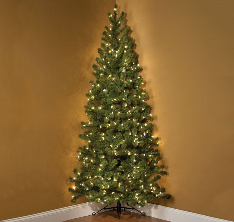 7-Foot Pre-Lit Corner Christmas Tree - 7-Foot Pre-Lit Corner Christmas Tree - TheGreenHead.com