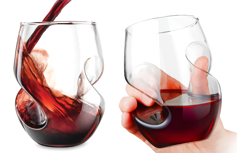 Aerating stemless wine glasses the green head - Hand blown stemless wine glasses ...