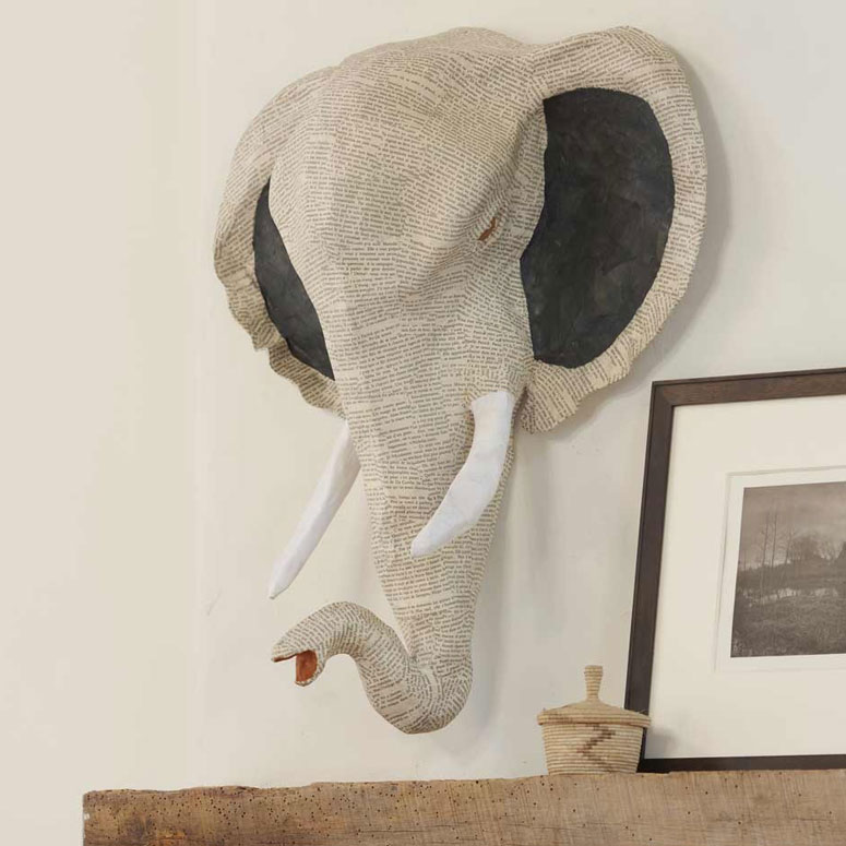 All Ears Elephant - Hand-Sculpted Papier-Mache Pachyderm Heads