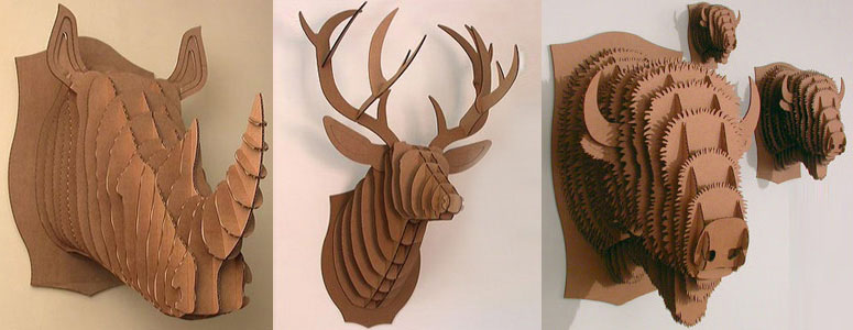 Animal Friendly Cardboard Trophy Head Busts - Rhino, Deer and Moose