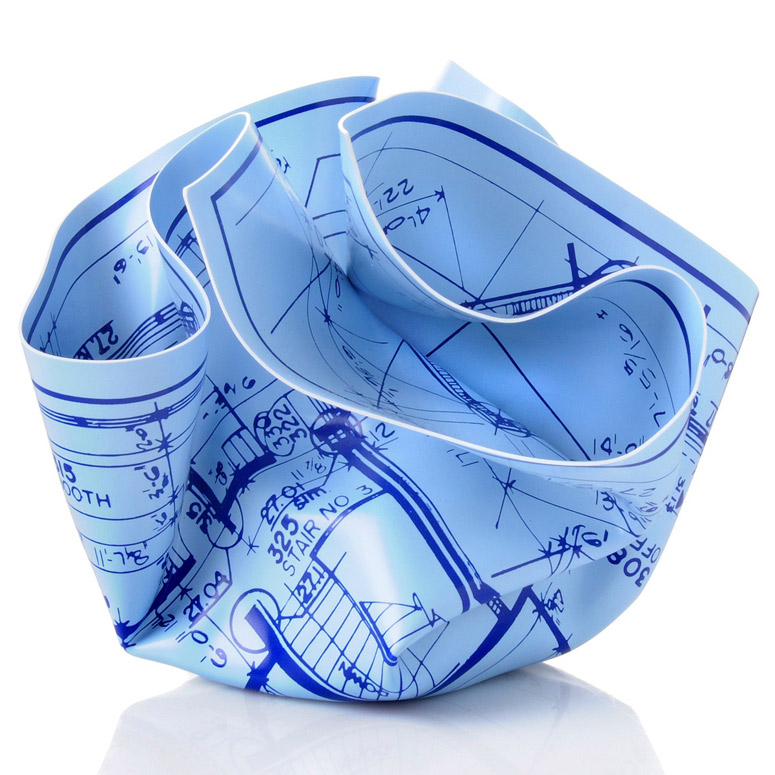 Architects Crumpled Blueprint Paperweight