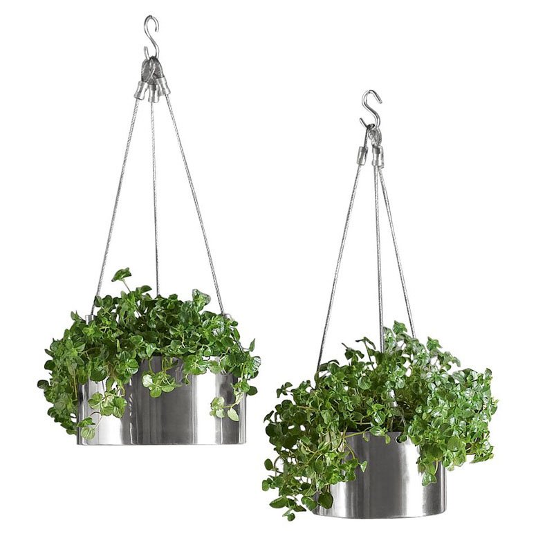Bari Stainless Steel Hanging Planters - The Green Head