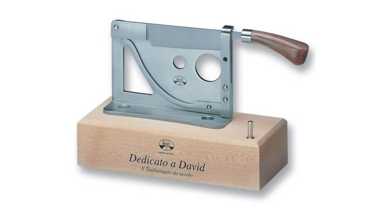 Berti Guillotine Cigar Cutter with Wooden Base