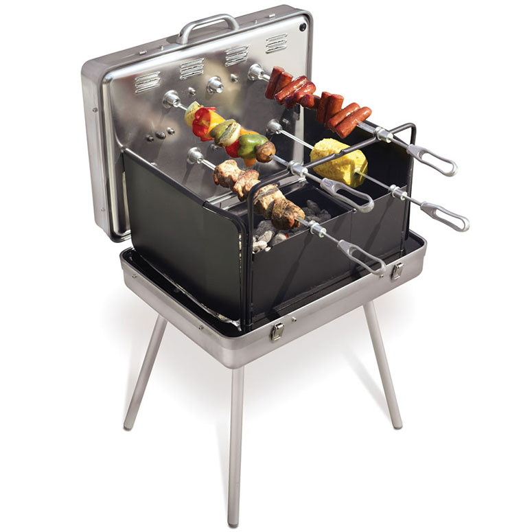 Brazilian Barbecue Briefcase - Portable Rotisserie Grill