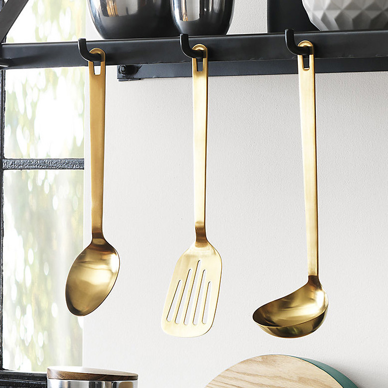 kitchen utensils. Brushed Gold Kitchen Utensils