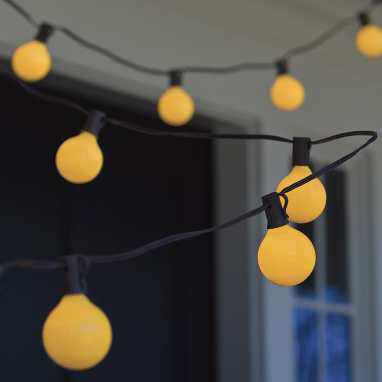 Bugs Away Yellow Globe String Lights