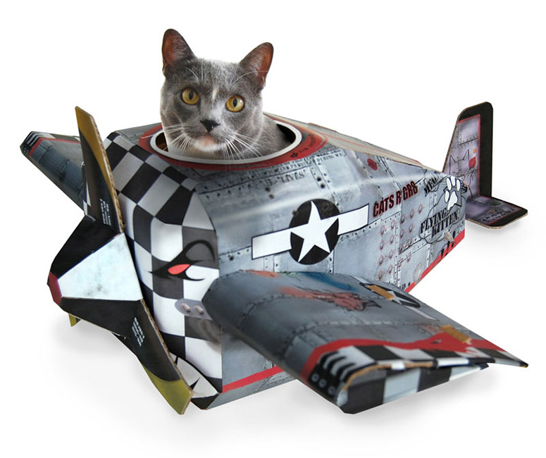 Cardboard Cat Playhouses - Fire Engine, Airplane and Tank