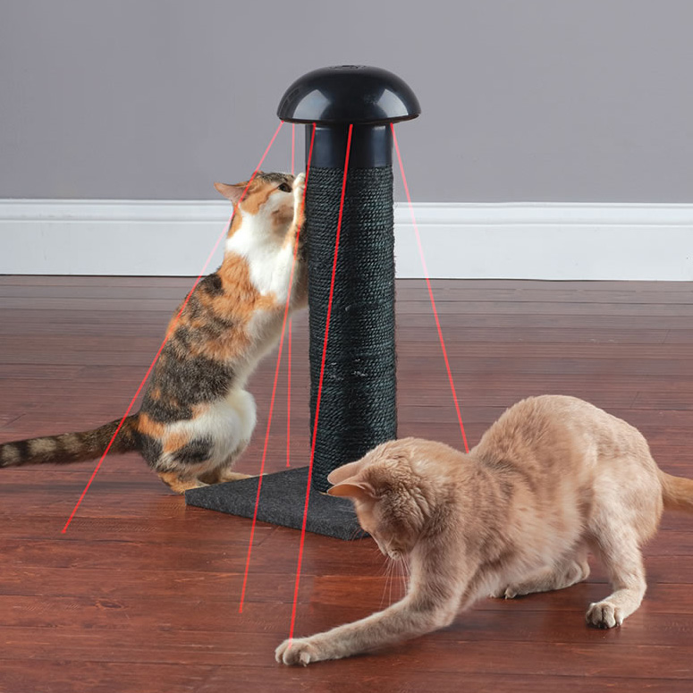 cat scratching post with builtin laser toy