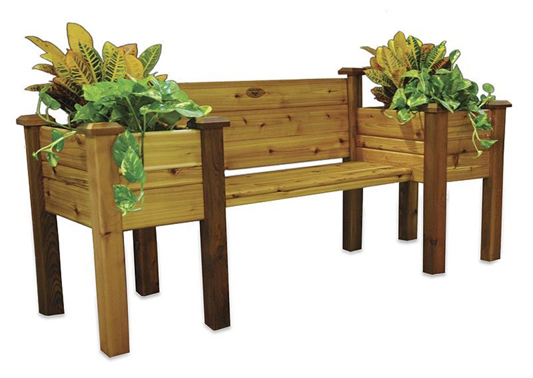Cedar Planter Bench - The Green Head